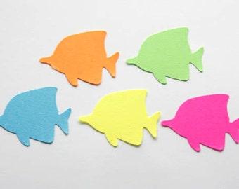 50 Tropical Fish Confetti, Fish Die Cuts, Beach Theme Party, Beach Party Decor, Summer Embellishment