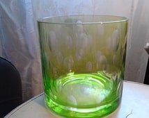Vintage Layered Green/Clear Glass Cut Through in Staggered Oval Thumbprints Vase, Ice Bucket