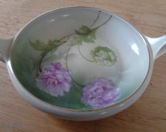 Vintage 1930s R S Germany Hand Painted Chrysanthemum Flower Handled Bowl