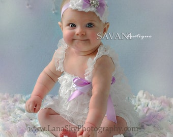 baby girl romper set ,White lavender  Petti Romper Set. It consists of a 2 pieces ( lace romper, headband )