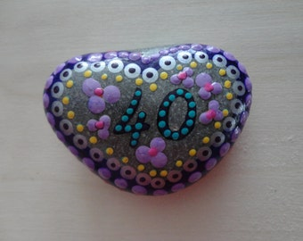 "Painted BEACH STONE ""40""/ Special Date/ Birthday  Pebble Art  Dot Painted Stone /Home Decor / Decorative Rock/ Abstract / Acrylic / Original"