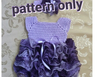 Crochet baby dress with ruffle skirt, newborn tutu  dress.   Digital pattern.
