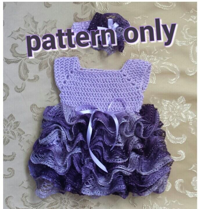 Crochet Ruffled Baby Dress Pattern : Crochet baby dress with ruffle skirt newborn tutu dress.