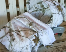 "Realtree snow camo  car seat cover and hood cover w/ matching 30""x30"" blanket with any minky color"