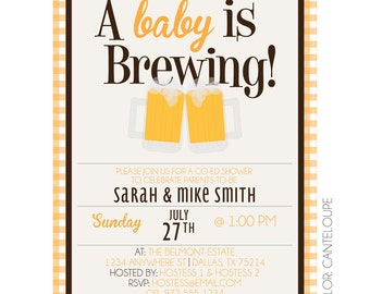 Baby is Brewing Beer Mugs Customizable Baby Shower Invitation Printable