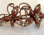Large Rhinestone Hair clip metal with rhinestone  Hair jewelry GIFT IDEA