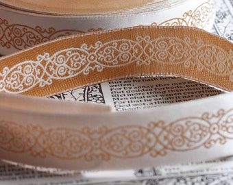 White Gold Embroidered Ribbon