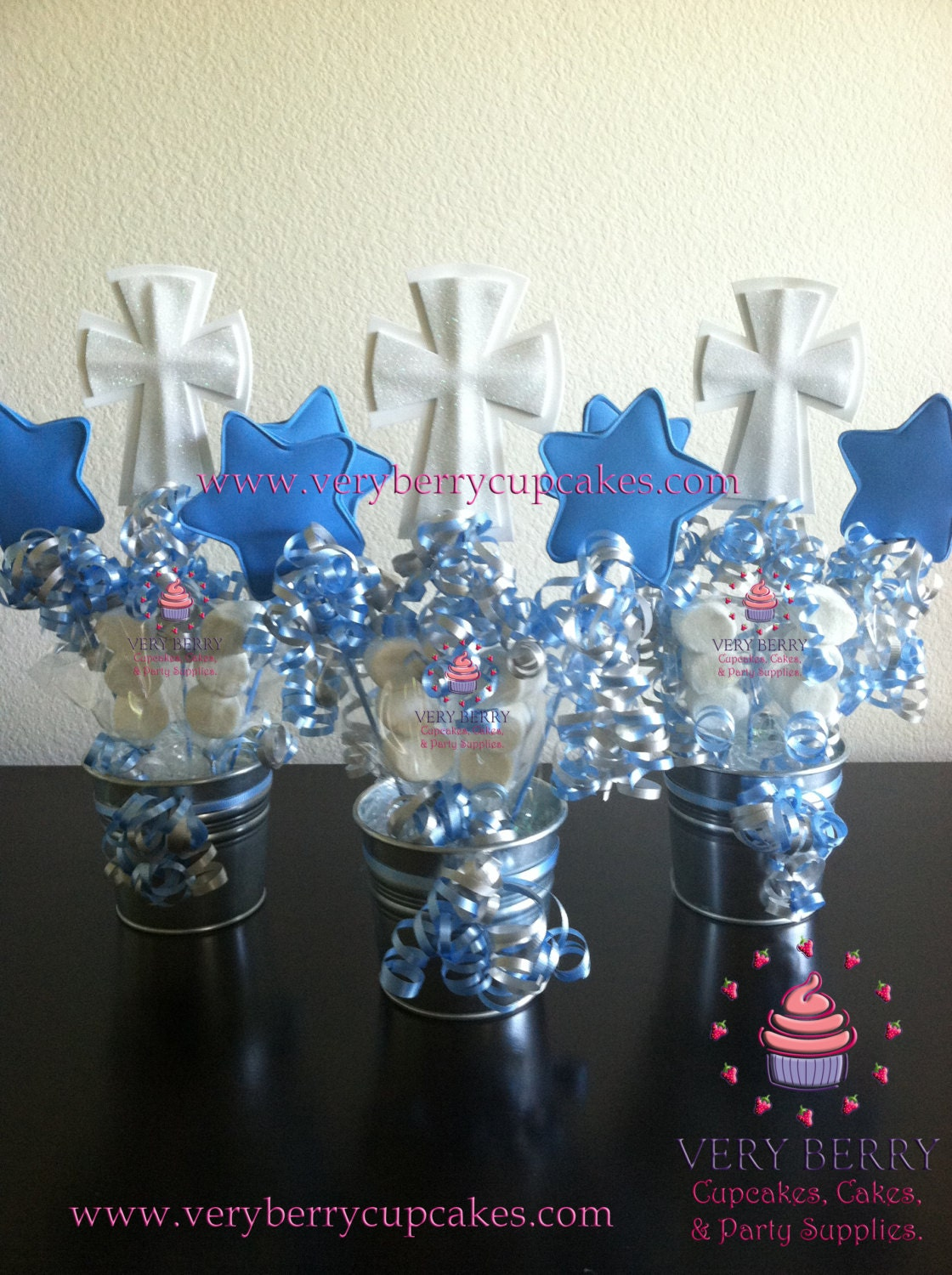 6 boy baptism centerpieces - Decorations for a baptism ...