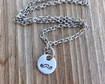 Handstamped mustache necklace stamped jewelry gift for her necklace stainless steel 3/8 inch  jewelry