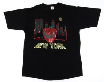 Vintage 90s I LOVE NEW YORK Shirt Hip Hop Rap Yankees Mets Big Apple Giants 50/50