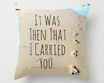 Footprints Pillow, Faith Pillow, Beach Home Decor, Footprints in Sand, Christian Pillow, Faith Decor, Footprints Poem, Ocean Throw Pillow