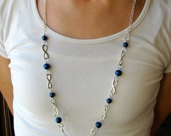 Royal Blue Infinity Lanyard Necklace