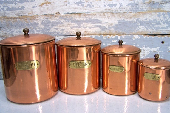 Vintage Copper Canisters Kitchen Containers Coffee Flour