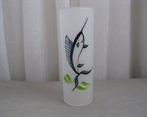 Vintage 1950's Swordfish Frosted Collins Glass Tumbler Federal