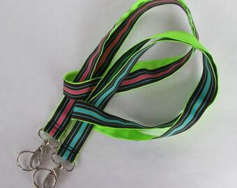 Reversible Preppy Stripes Lanyard Keychains for Women, Cool Lanyards for Keys, Id Badge Holder Necklace Lanyards, Cute Lanyards for Badges