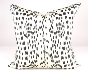"Brunschwig & Fils  LES TOUCHES Animal Print, Leopard Pillow Cover in Black, Lumbars, Accent Pillow, Toss Pillow  18"", 20"", 22"", 24"" sq.."