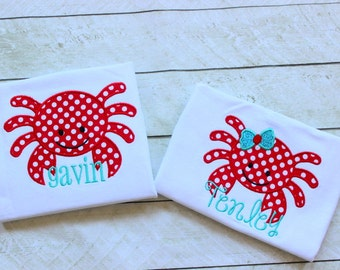 Matching Sibling Crab shirts Sibling summer matching outfits Brother and Sister crab shirts aqua and red summer crab shirts personalized top
