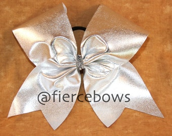 Just Silver Cheer Bow in Many Color Choices