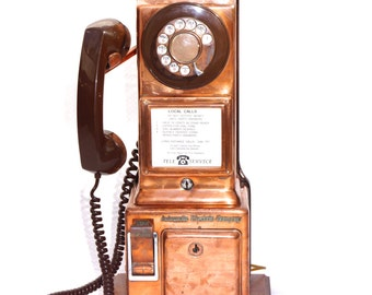 SOLD True Vintage Copper Pay Phone SOLD