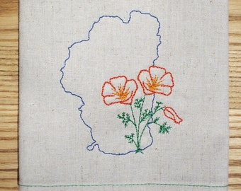 Lake Tahoe w California Poppy Kitchen Towel, Embroidered on Hemp and Organic Cotton