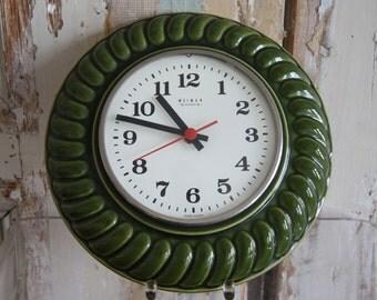 Vintage East German Weimar 1970s Green Kitchen Clock