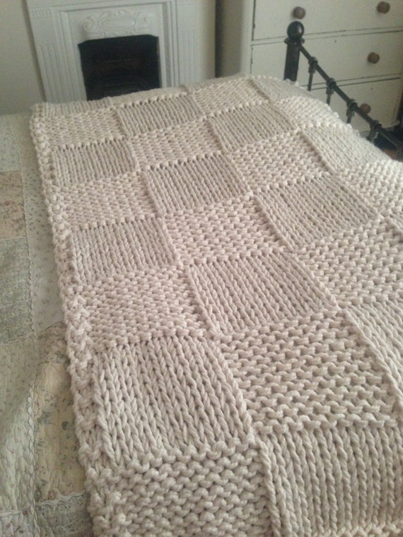 Chunky Cream Hand Knitted Blanket / Double and King Size Bed