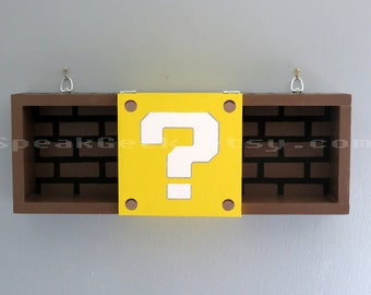 Super Mario Bros Shelf - Shadow Box Shelf - Modern Question Mark Block - Hand Made - Hand Painted - MADE TO ORDER