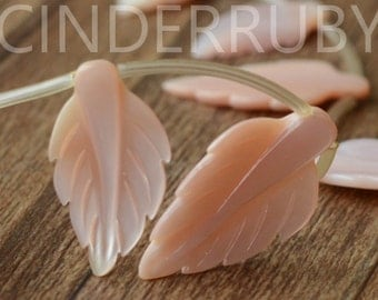 Pink Shell leaf,Hand Carved Leaves, Pink MOP Beads,Pink/Apricot Mother of Pearl Hand Carved Leaf,Craft Supply,Full Strand
