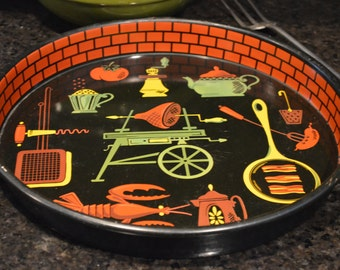 Retro BarBQ Tray Cooking Picnic Themed Kitchen Vintage Circa 1940's 1950'a  Platter Retro Rotisserie Great Graphics I Ship Internationally