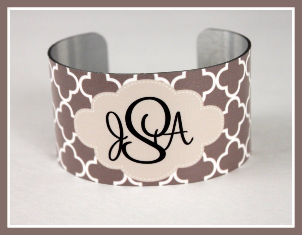 monogrammed cuff bracelet personalized cuff by chicmonogram