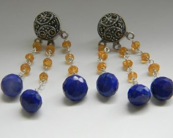 SALE. earrings. lapis lazuli. mandarin garnet. marcasite.