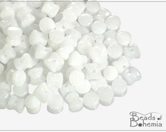 60 pcs Opaque White Czech Preciosa Pellet Beads 6x4 mm (8222)