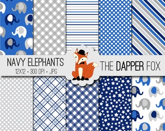 Navy and Grey Baby Elephant Digital Paper Pack - INSTANT DOWNLOAD - 12x12 - baby boy, baby shower, spots, stripes, gingham