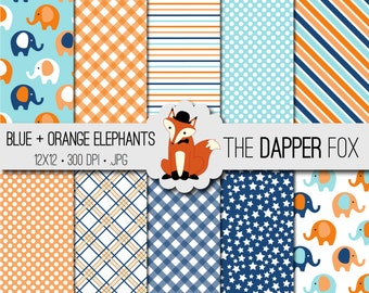 Blue and Orange Baby Elephant Digital Paper Pack - INSTANT DOWNLOAD - 12x12 - baby boy, baby shower, spots, stripes, gingham