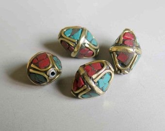 10pcs Nepal Tibetan Brass Bead With Turquoise Coral Inlay 16mm x 12mm - A426