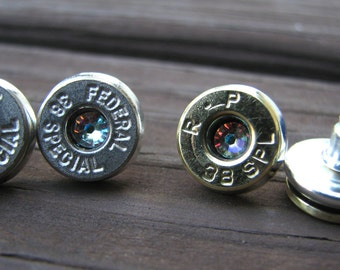 38 Special Bullet Earrings- Bullet Jewelry- Bullet Studs- Birthstone Earrings- Ammo Earrings- Country Girl Jewelry Gift- Crystal Earrings-