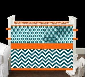 Crib Bedding,Baby Bedding,Crib set- Blue Moon chevron/Orange gender neutral boy girl