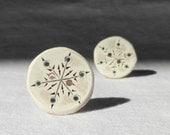 Snowflake Button, Entirely Handmade Wood Button 1 Inch Winter Wonderland Sewing