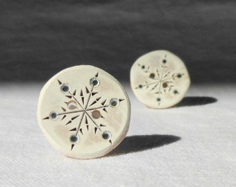 Snowflake Button, Entirely Handmade Wood Button 1 Inch Winter Wonderland Sewing