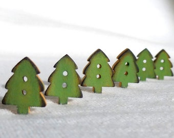 """Tiny Green Christmas Tree Buttons, Christmas Button Wood, Set of 6  12mm or 1/2"""""""