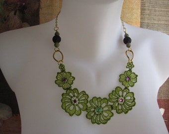 Green Purple Lace Necklace Jewelry. Lace Collar Bib Necklace. Boho Lace Statement Jewelry. Pendant Necklace