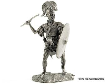 Roman legionnaire. 3-2 century BC. Collection 54mm 1/32 miniature toy soldier sculpture, figurine. Tin toy soldiers shop