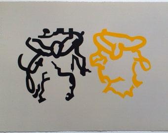 Gemini, Fine art print, original limited edition contemporary screenprint on quality grey paper
