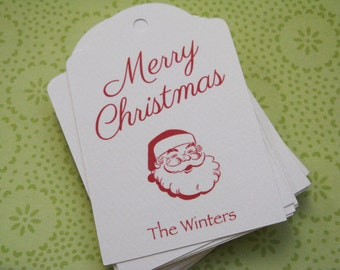 Custom Christmas Gift Tags, Vintage Santa Personalized Holiday Gift Tag, red and white - Set of 20