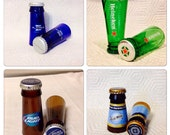 Beer Bottle Shot Glasses. Recycled Glass Bottles. Man Cave. For Him.