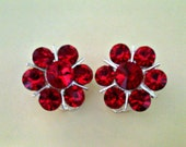 Cherry-Red Vintage Earrings; Clip-On Style Set in Silver Tone from Early 1990s