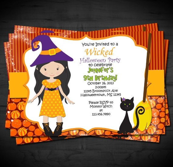 Halloween Witch Themed Birthday Invitation Tween Invite
