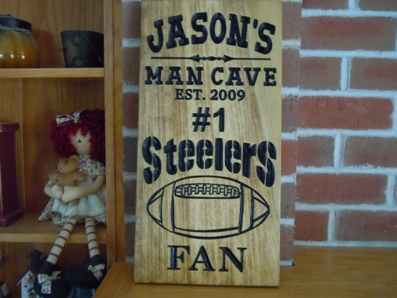 Man Cave Signs Sports : Man cave sign personalized wooden stained carved sports team