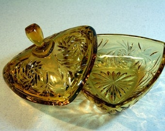 Amber Hazel Atlas candy dish-covered pressed glass candy dish-retro hostess