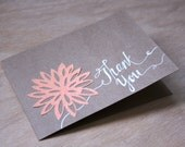 Handmade Orange Dahlia Thank You Card